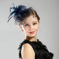 0ef24259858 Newest Black Feather Wedding Hair Accessories Birdcage Net Wedding Hats For  Women Fascinator Face Veils Bridal Hat Hair Jewelry