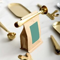 kaffee-clips großhandel-Multifunktionsküche Liefert Kaffeeschaufel Mit Clip Edelstahl Tee Kaffee Messbecher Kaffeeschaufel