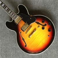 elektrische jazzgitarre f löcher großhandel-Custom Shop 50. Jahrestag 335 Vintage Sunburst CS Semi Hohlkörper Jazz E-Gitarre Black Pickguard Double F Holes Block Pearl Inlays