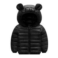 chaqueta con cremallera para niñas al por mayor-Bebés de los muchachos abrigos de invierno de 2019 infantil invierno chaqueta con capucha para niñas Zip Orejas gruesa capa Outwear otoño de los niños del bebé de la nieve