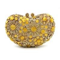ingrosso frizioni di sera giallo-Dgrian Natural Shell Donna Luxury Crystal Evening Bags Bridal Wedding giallo Pochette Party Minaudiere Borsa Purse Dinner Box
