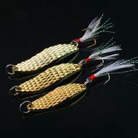 Wholesale leech lures resale online - 1pcs g Leech Spoons Fishing Hooks Fishhooks Hook Metal Baits Lures Artificial Bait Pesca Fishing Tackle Accessories
