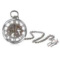 transparente handuhr mann großhandel-Klassische Silber Fob Transparent Skeleton Mechanische Handwind Taschenuhr Geschenk für Männer