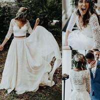 Wholesale modern two piece wedding dresses resale online - 2019 Cheap Beach Boho Wedding Dresses Long Sleeves A Line White Chiffon Lace Plus Size Bride Dress Bridal Two Pieces Country Wedding Gowns