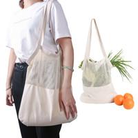 zakka papier groihandel-Cotton Mesh-Einkaufstüten wiederverwendbare Einkaufstaschen, Gemüse, Obst Frische Taschen-Schulter-Beutel Waschbar Speicherbeutel MMA2498