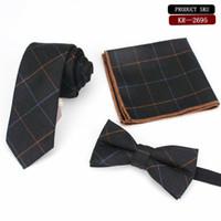 corbata de algodón gris al por mayor-Los hombres de moda de color gris corbata a cuadros de algodón 6 cm formal color liso corbata Hanky Bowtie Set Narrow Slim Mans Tie