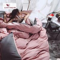 conjuntos de cama rosa e cinza venda por atacado-SlowDream Rosa Menina Capa de Edredão Set Gray Bed Folha Plana Decoração de Luxo Conjunto de Cama Lençóis Japão Estilo Cor Sólida Roupa de Cama