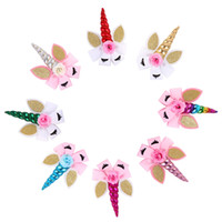 Wholesale baby cosplay online - 8 colors Unicorn hairclip new fashion baby girls sequin flower hairpin children cosplay party princess hair accessories