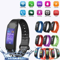 Wholesale 19 monitors resale online - C1 Plus Bluetooth Smart Watch Bracelet Heart Rate Monitor Blood Pressure Tracker new Inch Color Large Screen DHL