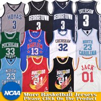 Wholesale black green basketball jerseys for sale - Group buy NCAA Allen Iverson Jersey Georgetown TRAVIS SCOTT Jack North Carolina Jerseys Harlem Michigan State Villanova WRIGHT UCLA