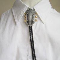 landgitarren großhandel-Herrenmode Bolo Tie Cowboy Männliche Accessoires Schwarz PU Leder Bolo Tie Mit