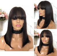 perruque noire chinoise achat en gros de-Celebrity Wig Bang Lace Front Wig Soie Droite Naturel Couleur 10A Grade Chinois Vierge Remy Cheveux Humains Pleine Dentelle Perruques pour Les Femmes Noires
