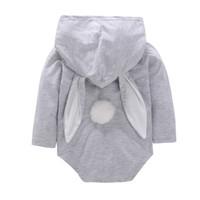 ingrosso vestito del coniglio del bambino-Tute pasquali Maniche lunghe Bambino Coniglio Pagliaccetto Coniglio Bunny Orecchio Creeping Suit Toddler Pagliaccetti Big Pocket Plush Tail 20fyb1