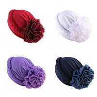 Wholesale muslim scarfs sale for sale - Group buy Big Flower Hand Plait Skull Caps Muslim Ethnic Style Wild Style Pure Color Chemotherapy Women Scarf Hats Hot Sale gaE1