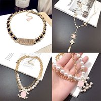 Wholesale white diamond pearl for sale - Group buy Fashion Designer Necklace Letter women Pendant Necklace Crystal Diamond Pearl Luxurys Necklaces Lady Jewelry Gift Special Offer
