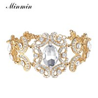 ingrosso braccialetti d'argento africani del braccialetto-Minmin Oro / Argento Big Crystal Colore Bracciali floreali per le donne Regali Moda gioielli da sposa Perline africane Bangles Partito SL092