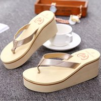 Wholesale bohemian womens sandals for sale - Group buy NEW womens slippers Summer Sexy Flip Flops Women Sandals Bohemian Muffin Slope With Sandals chaussons femme Dropshipping BY30