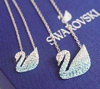 boucles d'oreilles bleues achat en gros de-2019 Date Designer De Luxe Célèbre Collier Boucles D'oreilles avec Cristal Bleu Swan Style Ciel Bleu Mer Bleu Cristal Colliers Boucles D'oreilles Bijoux