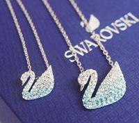 blaue ohrringe halskette großhandel-2019 neueste Berühmte Luxus Designer Halskette Ohrringe mit Blau Kristall Schwan Stil Himmelblau Meer Blau Kristall Halsketten Ohrringe Schmuck