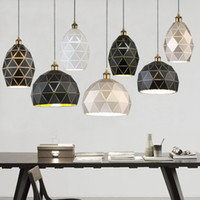 Wholesale hotel room paintings resale online - Modern Pendant Lights E27 Loft Light Fixtures Painted Iron Black White Champagne Pendant Lamp For Dining Room Hotel Decor
