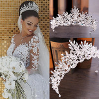 Wholesale church laced veils for sale - Group buy New Luxury Bridal Veils And Crown Wedding Hair Accessories White Ivory Long Crystal Beaded Bling Lace Tulle Cathedral Length M Church Veil