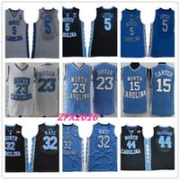 camisa de basquete azul 23 venda por atacado-NCAA Carolina do Norte Tar Heels 5 Nassir Little 32 Lucas Maye 15 Carter 23 Michael 44 Jackson College azul Basquete Jerseys Logotipos Costurados