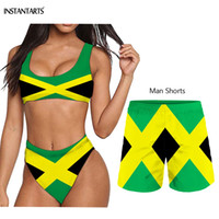 paar schwimmen shorts großhandel-INSTANTARTS 2019 Sommer Weiblich Männlich Paar Badeanzüge Jamaika Flags Print Frau Bikini Set Mann Strand Shorts Erwachsene Bademode