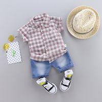 Wholesale children clothing boy black jeans resale online - Fashion Kids Summer Denim suits T Baby Boys Girls Plaid Shirt Clothing Children Shirts Short Jeans Set