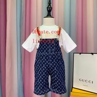 vaqueros de moda para bebés al por mayor-Baby Girls boy set Ropa Niños Moda Rayas decoración T-shirt de impresión jeans de dos piezas Niños Verano Boutique trajes G-i2