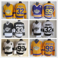 alte zeit hockey schnell großhandel-Los Angeles Kings Trikots CCM Old Time Eishockey 32 Jonathan Quick 32 Kelly Hrudey 99 Wayne Gretzky Trikot Heim Auswärts