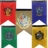 Wholesale harry potter gryffindor slytherin hufflepuff ravenclaw for sale - Group buy 50 cm Harry Potter Banner Flag Gryffindor Hufflepuff Slytherin Ravenclaw Triangle Flag Hogwarts College Home Decor Flag props FFA2924