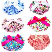Wholesale hot diaper girls resale online - Baby Bloomer Shorts Bow Headband Suits Summer PP Pants Lace Hot Trousers Diaper Cover Briefs Boutique Shorts Girls Dance Party Shorts C5765