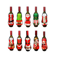 Wholesale ladies holiday clothing online - 2018 New Small Apron bottle Wine Cover Christmas Sexy Lady Xmas Dog Santa Pinafore red wine bottle wrapper Holiday Bottle clothes Dress