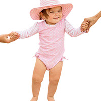 gestreifte badeanzüge großhandel-Kinderbadebekleidung für Mädchen Kinder Polyester Badeanzüge Badeanzug Bikini Strand Langarm Dot gestreiften Badeanzug K318