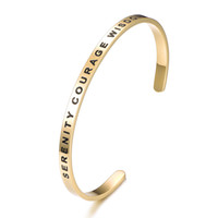 Wholesale serenity jewelry for sale - Group buy Serenity Courage Wisdom MM Stainless Steel Cuff Bangle Gold Sliver Rose Gold Adjustable Bangle Bracelet Jewelry Women Gift