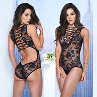Wholesale women lingerie rope for sale - Group buy New Arrival rope Sexy Lingerie Hot Hollow Out Deep V Bandage Lace Dress Erotic Lingerie For Women Sexy Underwear Nightwear