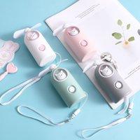 Wholesale ce soft toys resale online - Cartoon children s toy mini fan USB charging lanyard soft leaf cool portable plastic lighting fan dhl free