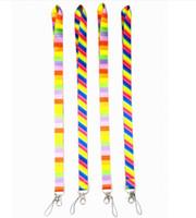 cordas de arco-íris venda por atacado-Correia do telefone celular do crachá da identificação da correia do pescoço do arco-íris Correia do telefone móvel do poliéster 12 cores de Keychain do telefone celular
