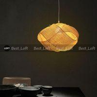 ingrosso disegno di illuminazione di bambù-Bamboo Wicker Rattan Cloud Shade lampada a sospensione giapponese Tatami appeso plafoniera Plafon Lustre Avize Luminaria Design