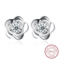 925 dame ring blume großhandel-Blumenform 925 Sterling Silber Ohrringe Set für Frauen Vintage Designer New Fashion DIY Ohrstecker Ring für Männer Dame Natur Edelstein