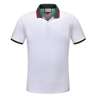 cuellos de polo al por mayor-Algodón de lujo para hombre Camisas polo Hombres Algodón Nueva marca de diseñador Camisetas Hombre Cuello redondo Vintage Hombres Polos Camisas de manga corta camiseta