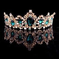 ingrosso blu corona tiaras-Corona Barocca Rosso Blu Verde Cristallo Diademi Corona Corona d'oro Vintage Accessori per capelli Matrimonio Strass Diadem Pageant Crowns D19011103