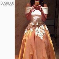 goldene linie kleid großhandel-Schöne zweiteilige geschwollene eine Linie Ballkleider mit floralen Applikationen weißem Satin Top goldenen Rock von der Schulter Party Kleid Kleid
