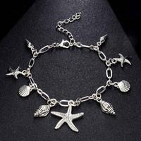14k tobilleras al por mayor-Mujeres tobilleras pulseras estrellas de mar Shell del encanto de acero inoxidable para el tobillo de 24 cm de 9-11 pulgadas de la moda de joyería de la vendimia oferta de la fábrica