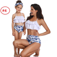 Wholesale mommy daughter clothing matching online - Boutique Mommy and daughter Swimwear Bikini set Family Matching clothing Leaf Ruffles Top High waist Shorts Halter Bathing suit Designs