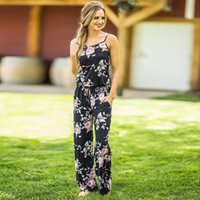 0bc6c94630 Plus Size Women Floral Print Sling Jumpsuit Sleeveless Romper Beach  Bodysuit Summer Wide Leg Pants Loose Trousers S-3XL Overalls C42301