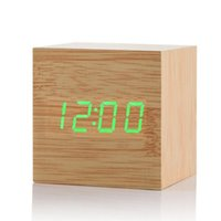 saat termometresi zamanlayıcı toptan satış-Yeni Modern Ahşap Ahşap Dijital LED Masa Çalar Saat Termometre Zamanlayıcı Takvim Kırmızı LED Dijital Alarm Yaratıcı ev dekor hediye