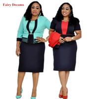 strickjacke kleid großhandel-Dashiki Afrikanische Kleidung für Frauen Zweiteilige Sets Sunderss und Mantel Büro-Dame Cardigan Sommer-Klage-Bleistift-Kleid-Fee-Träume