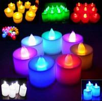 batería led luces para velas al por mayor-3.5 * 4.5 cm LED Tealight Velas de té Luz sin llama Funciona con pilas Fiesta de cumpleaños de boda Decoración de Navidad J082002 # DHL