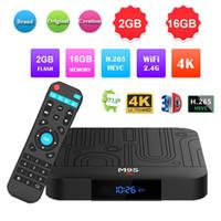 m9s android box al por mayor-Quad Core M9S W1 Android 7.1.2 CAJA DE TV 2GB 16GB Amlogic S905W 4K H.265 Reproductor multimedia de transmisión IPTV Box Mejor TX3 X96 mini S905W S905X2 T95Q